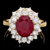 14k Yellow Gold 1.50ct Ruby 1.50ct Diamond Ring
