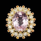14k Gold 16.50ct Kunzite 1.80ct Diamond Ring
