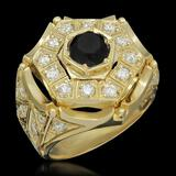 14K Gold 1.82ct Fancy Color Diamond 3.07ct Diamond Ring