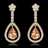 14k Yellow Gold 5.10ct Morganite 2.75ct Diamond Earrings