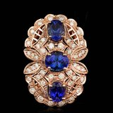 14k Rose 5.50ct Tanzanite 1.60ct Diamond Ring