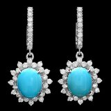 14k Gold 4.00ct Turquoise 1.70ct Diamond Earrings