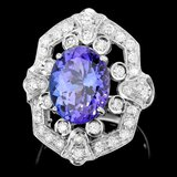14k Gold 5.50ct Tanzanite 1.00ct Diamond Ring