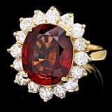 14k Yellow Gold 7.00ct Zircon 1.60ct Diamond Ring