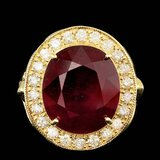 14k Yellow Gold 12.00ct Ruby 0.95ct Diamond Ring