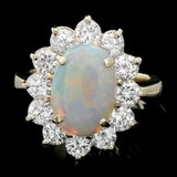 14k Yellow Gold 3.00ct Opal 2.00ct Diamond Ring