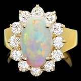 14k Yellow Gold 2.00ct Opal 1.30ct Diamond Ring