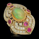 14K Gold 3.60ct Opal, 1.20ct Ruby & 1.51ct Diamond Ring