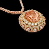 14K Yellow/Rose Gold, 17.10 Morganite, 12.00cts Diamond Necklace