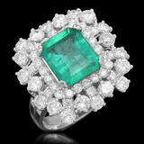 14K Gold 2.90 Emerald 2.71 Diamond Ring