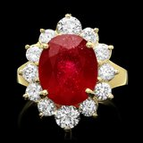 14k Yellow Gold 7.24ct Ruby 1.56ct Diamond Ring