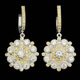 14k Gold 3.50ct Diamond 1.50ct Sapphire Earrings