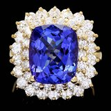14k Gold 7.00ct Tanzanite 2.50ct Diamond Ring
