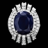 14k Gold 10.50ct Sapphire 1.90ct Diamond Ring