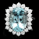 14k Gold 6.70ct Aquamarine 1.40ct Diamond Ring