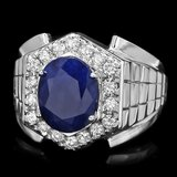 14k Gold 4ct Sapphire 0.70ct Diamond Mens Ring