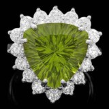 14k White Gold 9.50ct Peridot 1.80ct Diamond Ring