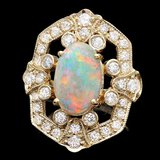 14k Yellow Gold 2.50ct Opal 1.25ct Diamond Ring