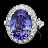 14k Gold 7.00ct Tanzanite 0.70ct Diamond Ring