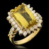 14k Gold 5.02ct Yellow Beryl 1.12ct Diamond Ring