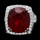 14k White Gold 19.50ct Ruby 0.70ct Diamond Ring