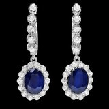 14k Gold 4ct Sapphire 1.40ct Diamond Earrings