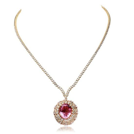 18K Yellow Gold, 14.55cts Tourmaline, 9.89cts Diamond Necklace