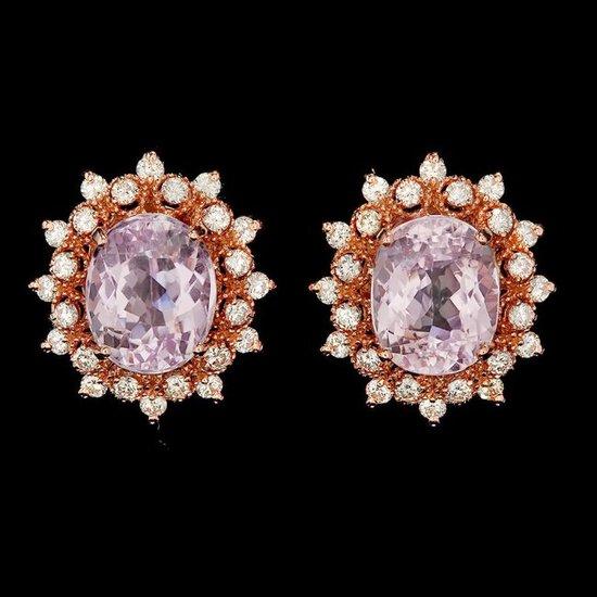 14k Rose 10.00ct Kunzite 1.35ct Diamond Earrings