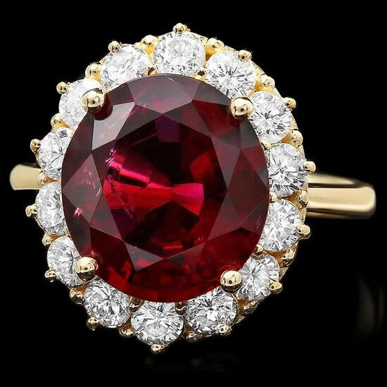 14k Gold 5ct Tourmaline 1.35ct Diamond Ring