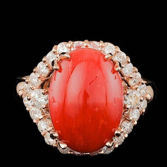 14k Rose Gold 5.50ct Coral 0.90ct Diamond Ring
