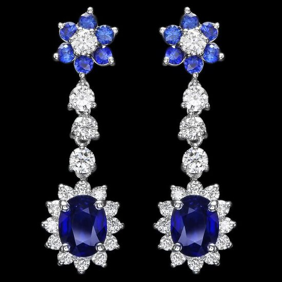 14k Gold 3.15ct Sapphire 2.00ct Diamond Earrings