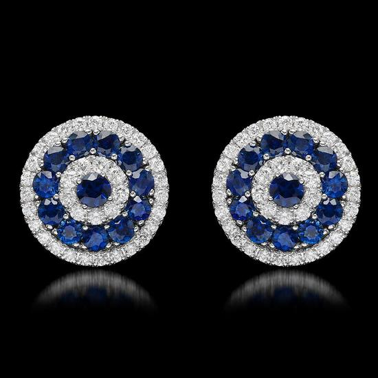 14k White Gold 4.63ct Sapphire 1.75ct Diamond Earrings