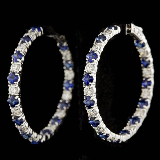 14k Gold 6.00ct Sapphire 3.20ct Diamond Earrings