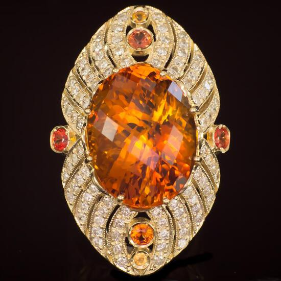 14K Gold 25.15ct Citrine, 0.71ct Fancy Color Sapphire 1.74ct Diamond Ring