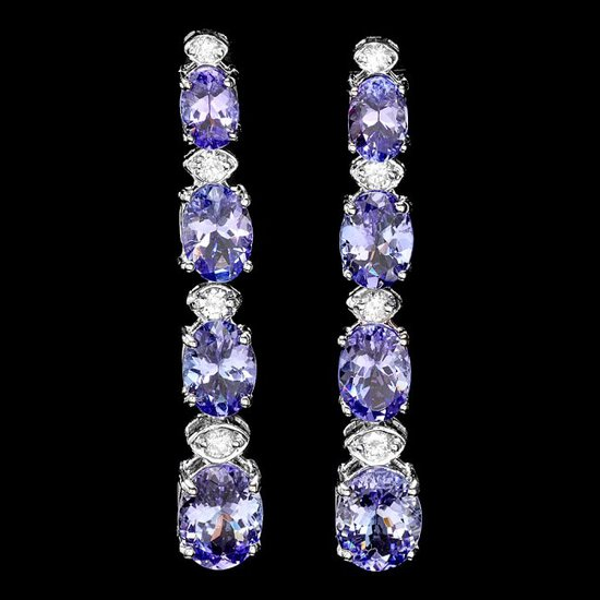 14k Gold 7ct Tanzanite 0.45ct Diamond Earrings