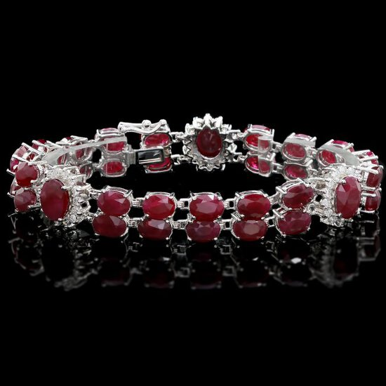 14k White Gold 43ct Ruby 1.65ct Diamond Bracelet