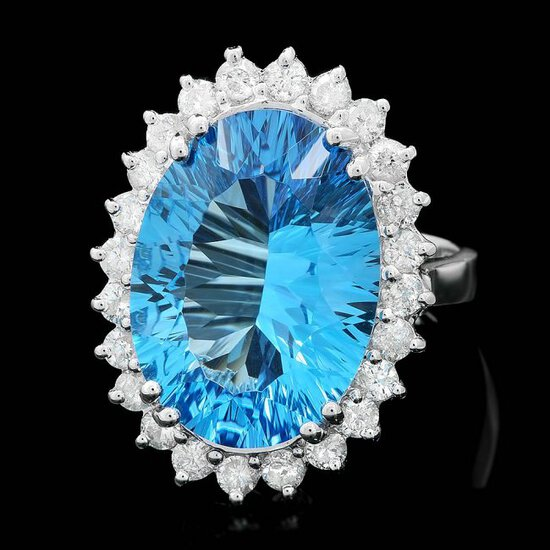 14k White Gold 11.5ct Topaz 1.10ct Diamond Ring