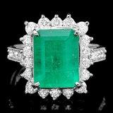 14k White Gold 4.00ct Emerald 1.00ct Diamond Ring