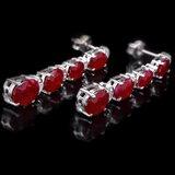 14k Gold 7.00ct Ruby 0.30ct Diamond Earrings
