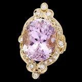 14k Gold 20ct Morganite 0.75ct Diamond Ring