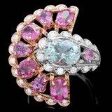 14k 3.00ct Aquamarine Sapphire 1ct Diamond Ring