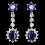 14k Gold 4.8ct Sapphire 2ct Diamond Earrings