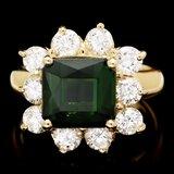 14k Gold 4ct Tourmaline 1.80ct Diamond Ring