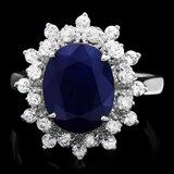 14k Gold 4.00ct Sapphire 0.60ct Diamond Ring