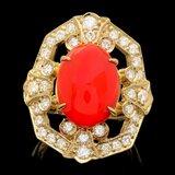 14k Yellow Gold 4.60ct Coral 1.30ct Diamond Ring