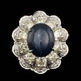 14k White Gold 6.00ct Sapphire 3ct Diamond Ring