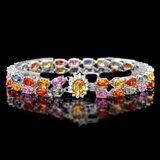 14k Gold 29ct Sapphire 0.40ct Diamond Bracelet