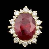 14k Yellow Gold 13.00ct Ruby 1.80ct Diamond Ring