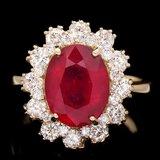 14k Yellow Gold 5.00ct Ruby 1.30ct Diamond Ring