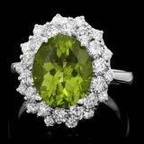 14k White Gold 5.00ct Peridot 1.60ct Diamond Ring